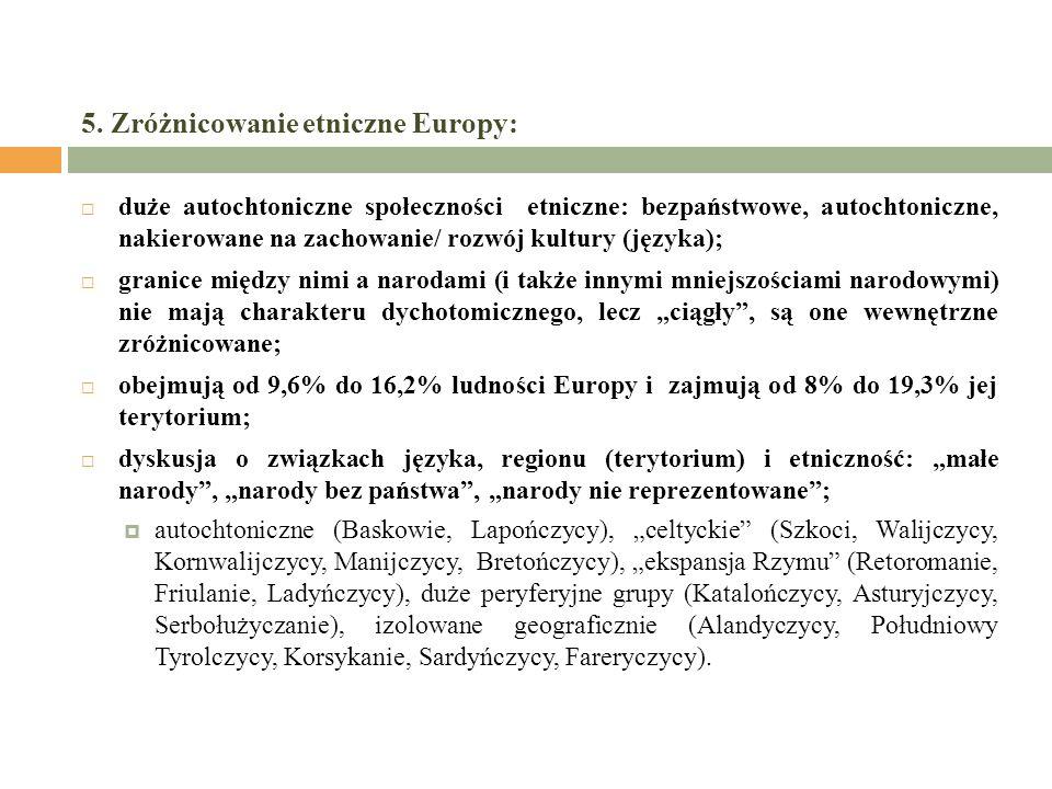 5. Zróżnicowanie etniczne Europy: duże autochtoniczne społeczności etniczne: bezpaństwowe, autochtoniczne, nakierowane na zachowanie/ rozwój kultury (