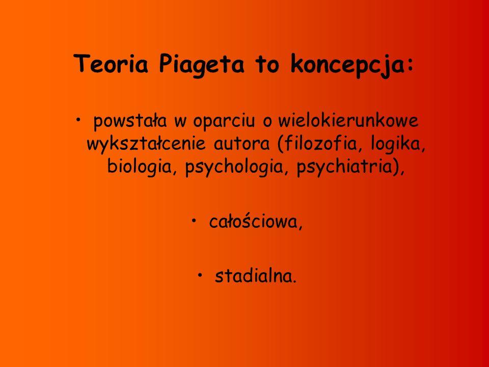 Teoria Piageta to koncepcja: powstała w oparciu o wielokierunkowe wykształcenie autora (filozofia, logika, biologia, psychologia, psychiatria), całośc