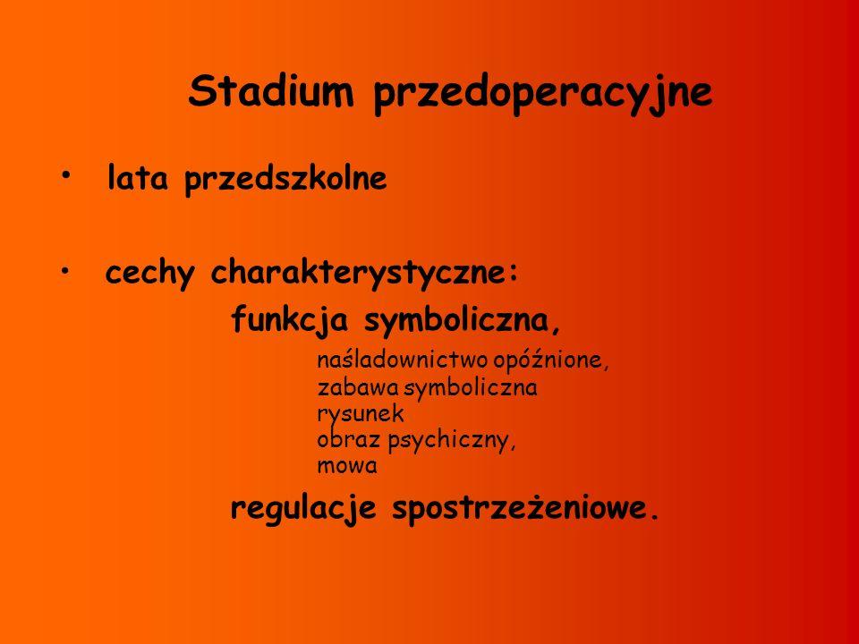 Stadium przedoperacyjne lata przedszkolne cechy charakterystyczne: funkcja symboliczna, naśladownictwo opóźnione, zabawa symboliczna rysunek obraz psy