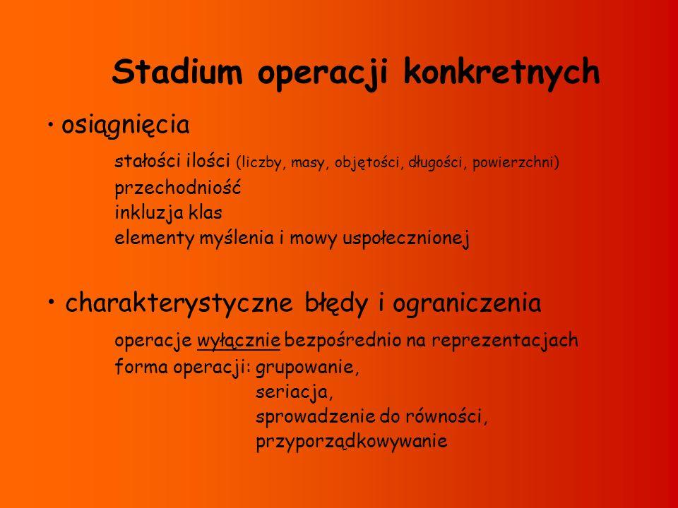 Stadium operacji konkretnych osiągnięcia stałości ilości (liczby, masy, objętości, długości, powierzchni) przechodniość inkluzja klas elementy myśleni