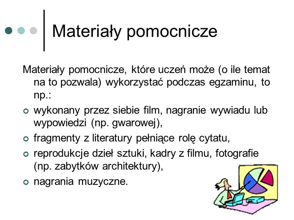 Plan prezentacji Zdający może także korzystać z planu prezentacji, którego objętość nie może przekraczać jednej strony formatu A4.