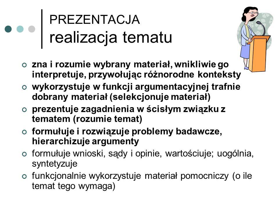 PREZENTACJA kompozycja wypowiedzi Maturzysta: buduje wypowiedź zorganizowaną, tzn.