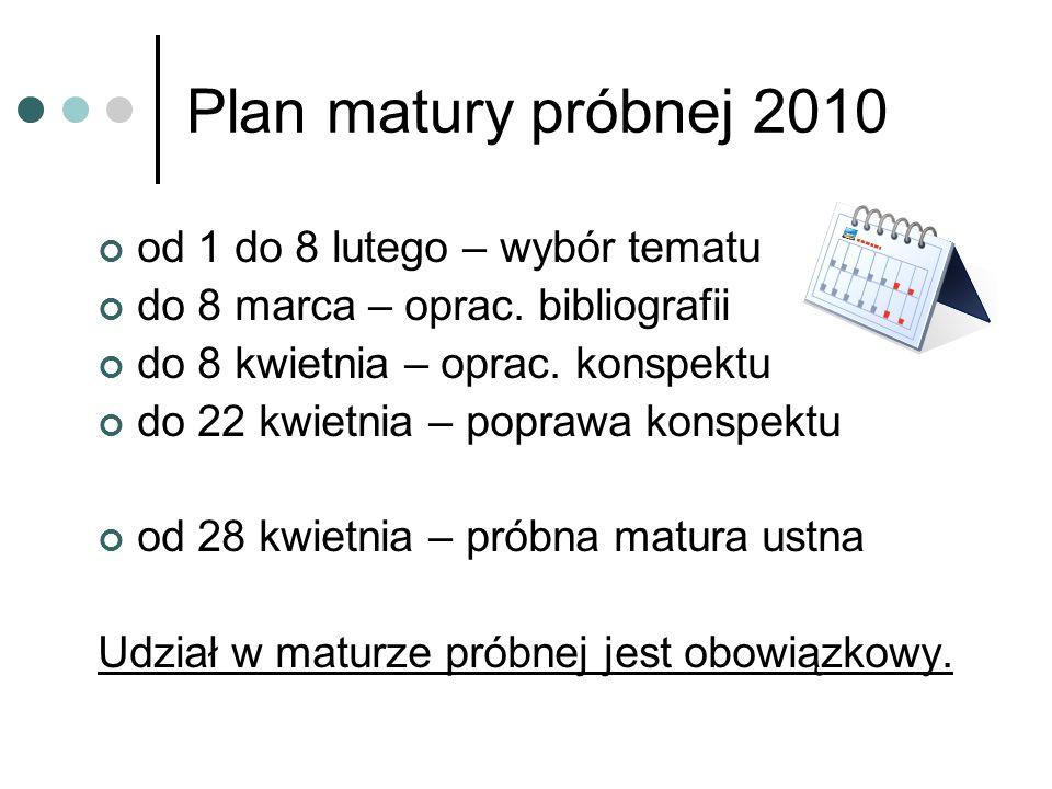 Ustna matura próbna 2010 Ocenie podlega: opracowanie bibliografii (luty) opracowanie konspektu (marzec) prezentacja i rozmowa (maj)
