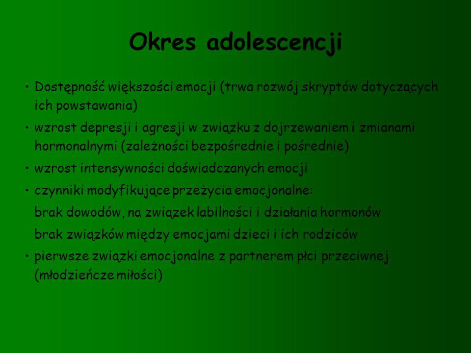 Okres adolescencji Dostępność większości emocji (trwa rozwój skryptów dotyczących ich powstawania) wzrost depresji i agresji w związku z dojrzewaniem