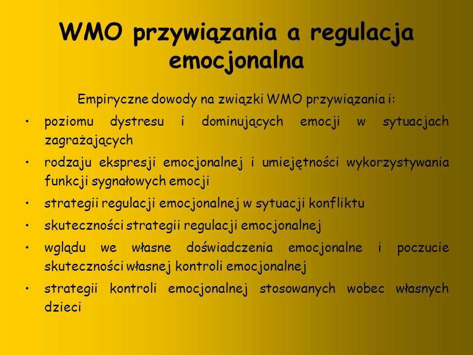 WMO przywiązania a regulacja emocjonalna Empiryczne dowody na związki WMO przywiązania i: poziomu dystresu i dominujących emocji w sytuacjach zagrażaj
