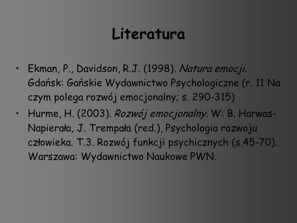 Literatura Ekman, P., Davidson, R.J. (1998). Natura emocji. Gdańsk: Gańskie Wydawnictwo Psychologiczne (r. 11 Na czym polega rozwój emocjonalny; s. 29