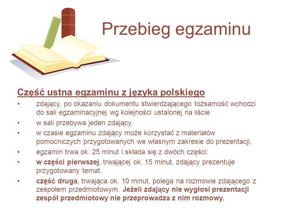 Część ustna egzaminu z języka polskiego zdający, po okazaniu dokumentu stwierdzającego tożsamość wchodzi do sali egzaminacyjnej wg kolejności ustalone