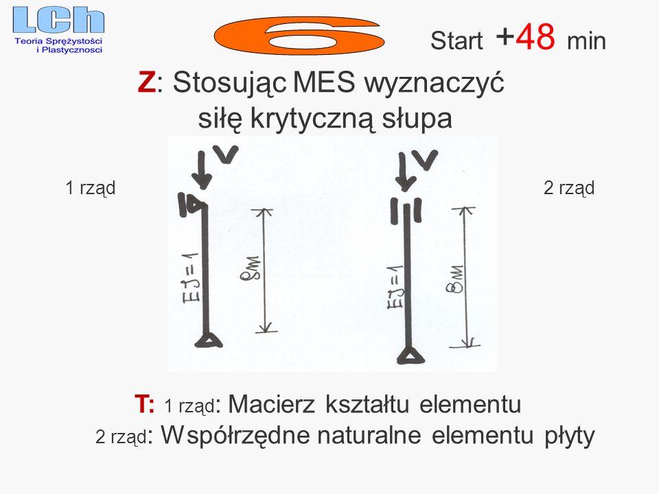 Z: Stosując MES wyznaczyć siłę krytyczną słupa Start +48 min 1 rząd 2 rząd T: 1 rząd : Macierz kształtu elementu 2 rząd : Współrzędne naturalne elemen