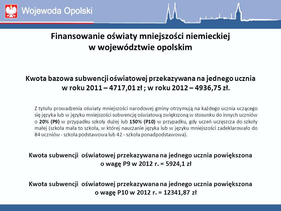 Finansowanie oświaty mniejszości niemieckiej w województwie opolskim Kwota bazowa subwencji oświatowej przekazywana na jednego ucznia w roku 2011 – 47