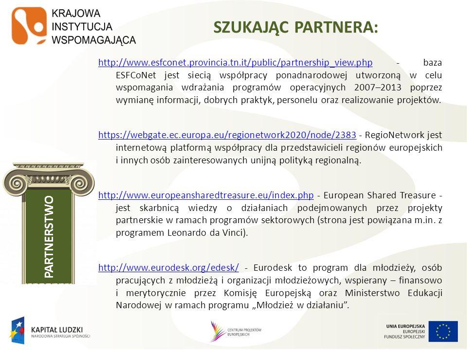 http://www.esfconet.provincia.tn.it/public/partnership_view.phphttp://www.esfconet.provincia.tn.it/public/partnership_view.php - baza ESFCoNet jest si