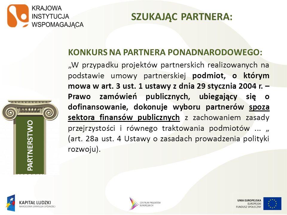 KONKURS NA PARTNERA PONADNARODOWEGO: W przypadku projektów partnerskich realizowanych na podstawie umowy partnerskiej podmiot, o którym mowa w art. 3