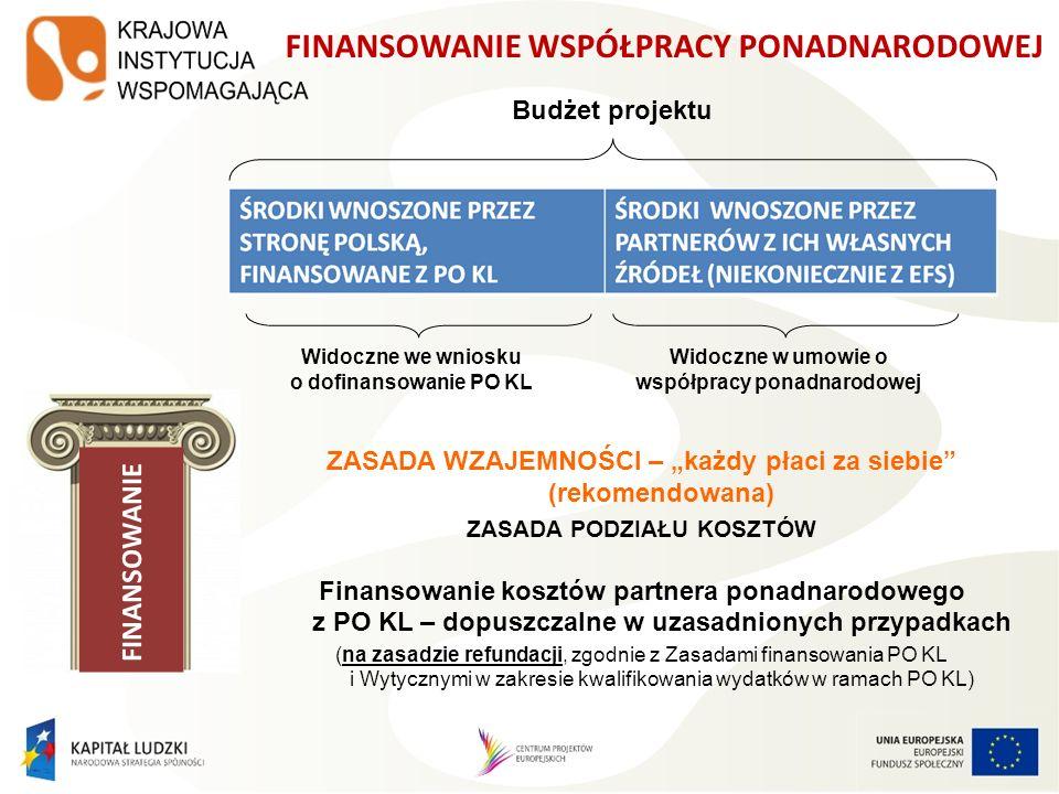 FINANSOWANIE Widoczne we wniosku o dofinansowanie PO KL ZASADA WZAJEMNOŚCI – każdy płaci za siebie (rekomendowana) ZASADA PODZIAŁU KOSZTÓW Finansowani