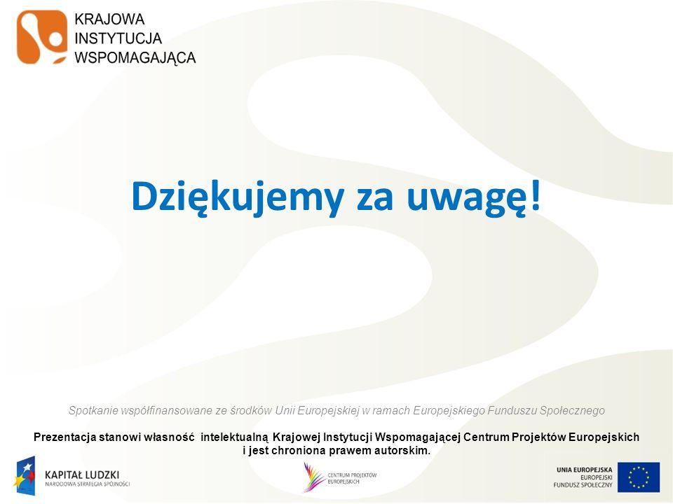 Dziękujemy za uwagę! Spotkanie współfinansowane ze środków Unii Europejskiej w ramach Europejskiego Funduszu Społecznego Prezentacja stanowi własność