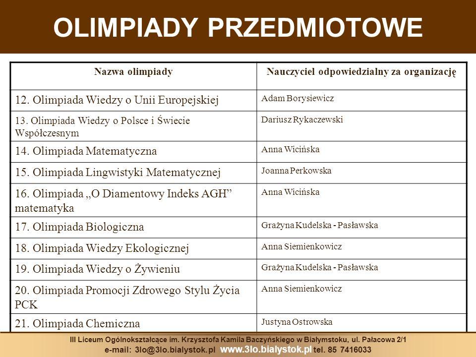 OLIMPIADY PRZEDMIOTOWE Nazwa olimpiadyNauczyciel odpowiedzialny za organizację 12. Olimpiada Wiedzy o Unii Europejskiej Adam Borysiewicz 13. Olimpiada