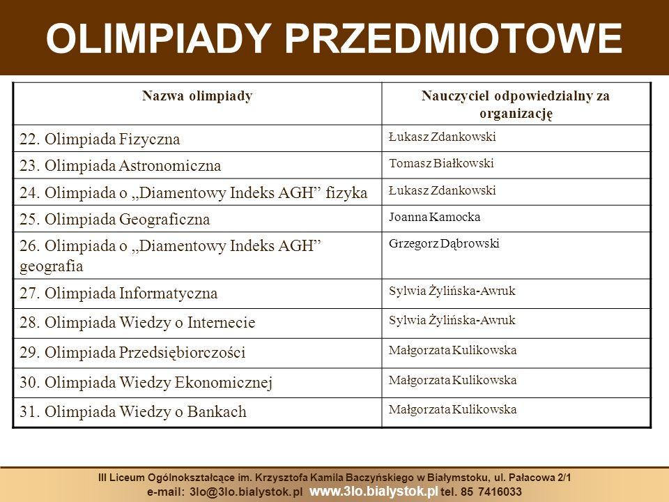 Nazwa olimpiadyNauczyciel odpowiedzialny za organizację 22. Olimpiada Fizyczna Łukasz Zdankowski 23. Olimpiada Astronomiczna Tomasz Białkowski 24. Oli