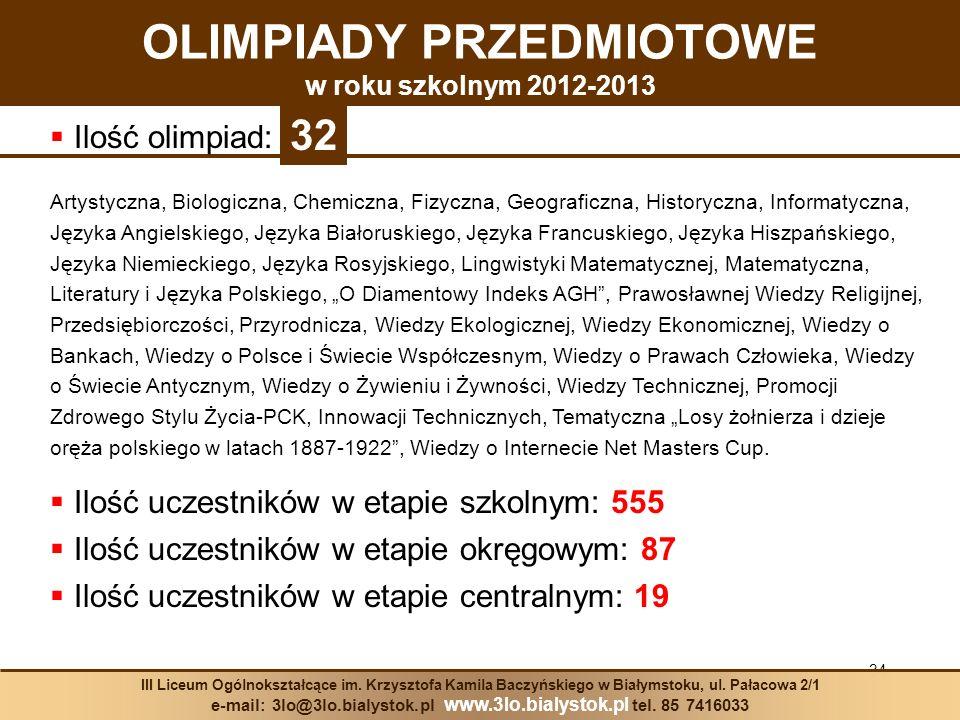 34 III Liceum Ogólnokształcące im. Krzysztofa Kamila Baczyńskiego w Białymstoku, ul. Pałacowa 2/1 e-mail: 3lo@3lo.bialystok.pl www.3lo.bialystok.pl te