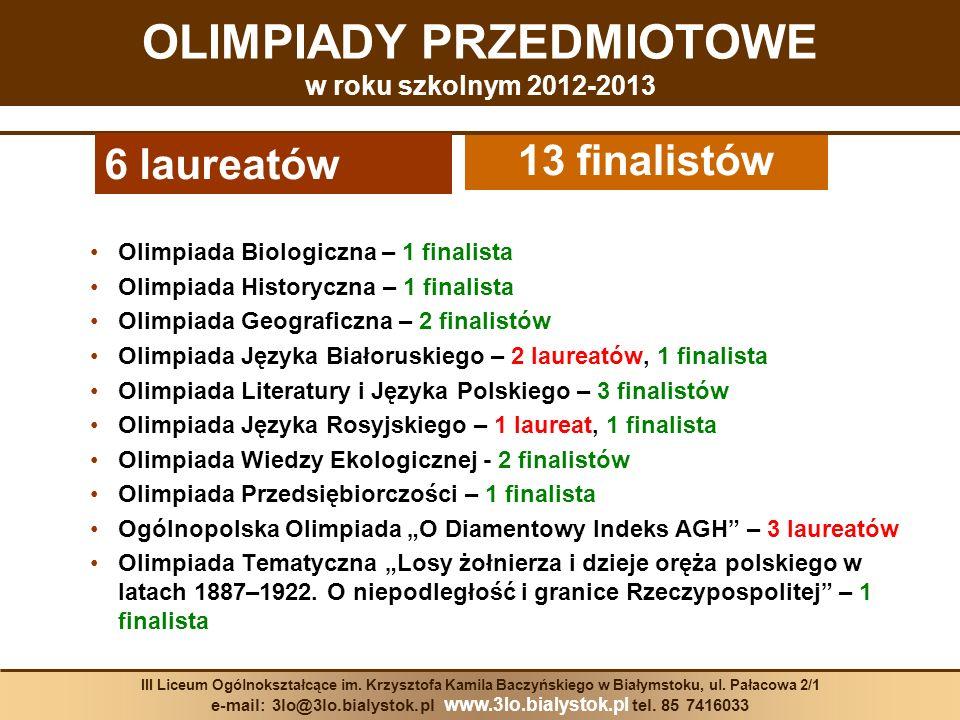 Olimpiada Biologiczna – 1 finalista Olimpiada Historyczna – 1 finalista Olimpiada Geograficzna – 2 finalistów Olimpiada Języka Białoruskiego – 2 laure