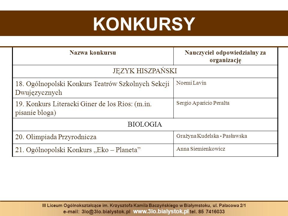 KONKURSY Nazwa konkursuNauczyciel odpowiedzialny za organizację JĘZYK HISZPAŃSKI 18. Ogólnopolski Konkurs Teatrów Szkolnych Sekcji Dwujęzycznych Noemi