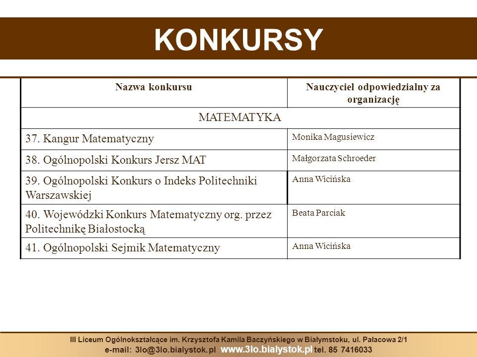 KONKURSY Nazwa konkursuNauczyciel odpowiedzialny za organizację MATEMATYKA 37. Kangur Matematyczny Monika Magusiewicz 38. Ogólnopolski Konkurs Jersz M