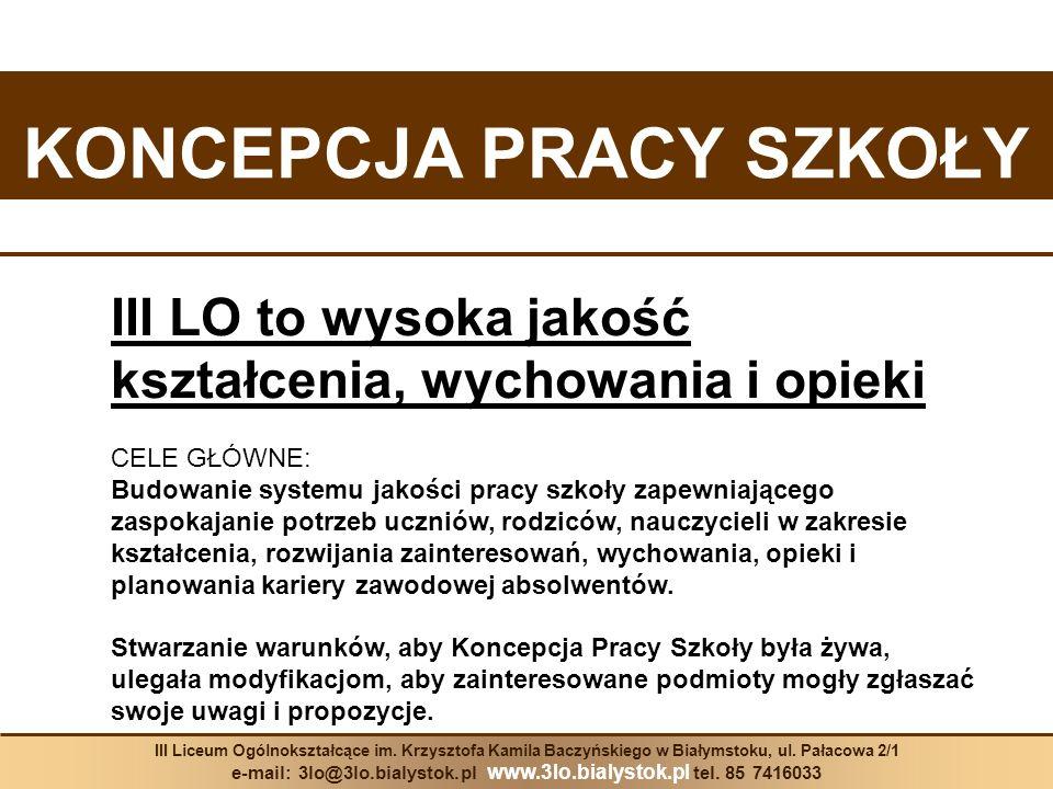 KONKURSY III Liceum Ogólnokształcące im.Krzysztofa Kamila Baczyńskiego w Białymstoku, ul.