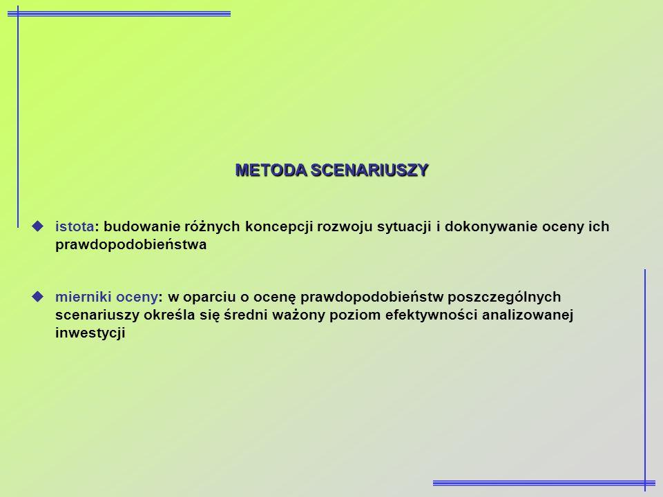 METODA SCENARIUSZY istota: budowanie różnych koncepcji rozwoju sytuacji i dokonywanie oceny ich prawdopodobieństwa mierniki oceny: w oparciu o ocenę p