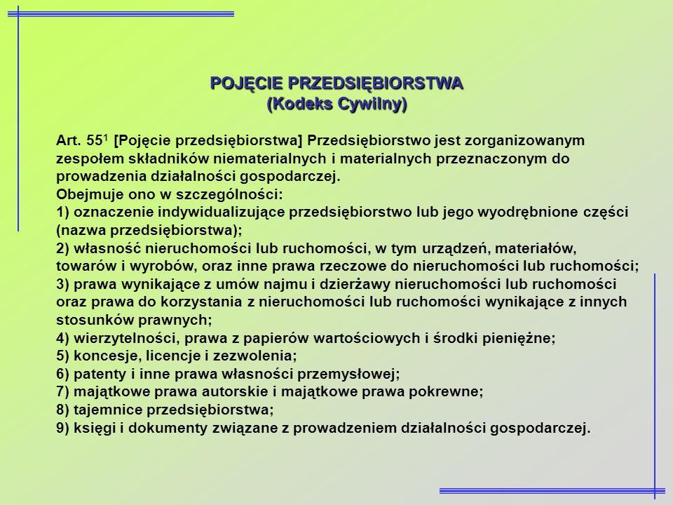 POJĘCIE PRZEDSIĘBIORSTWA (Kodeks Cywilny) Art. 55 1 [Pojęcie przedsiębiorstwa] Przedsiębiorstwo jest zorganizowanym zespołem składników niematerialnyc
