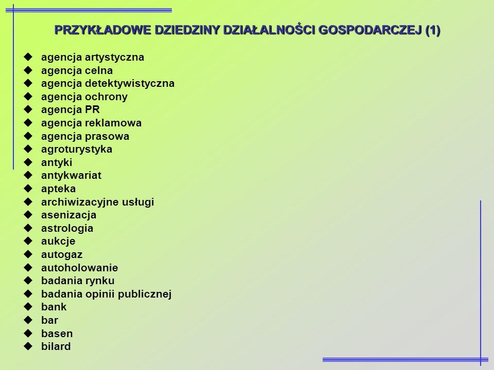 PRZYKŁADOWEDZIEDZINY DZIAŁALNOŚCI GOSPODARCZEJ (1) PRZYKŁADOWE DZIEDZINY DZIAŁALNOŚCI GOSPODARCZEJ (1) agencja artystyczna agencja celna agencja detek
