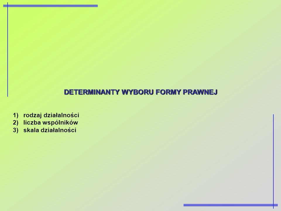 DETERMINANTY WYBORU FORMY PRAWNEJ 1)rodzaj działalności 2)liczba wspólników 3)skala działalności