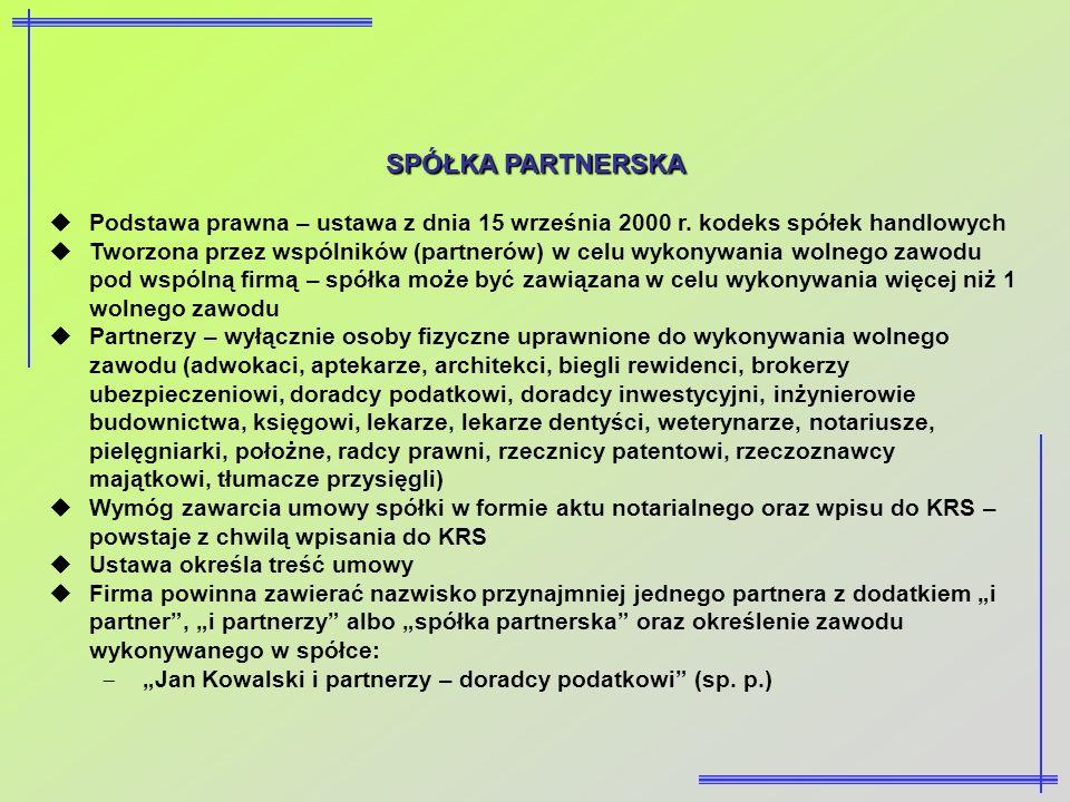 SPÓŁKA PARTNERSKA Podstawa prawna – ustawa z dnia 15 września 2000 r. kodeks spółek handlowych Tworzona przez wspólników (partnerów) w celu wykonywani