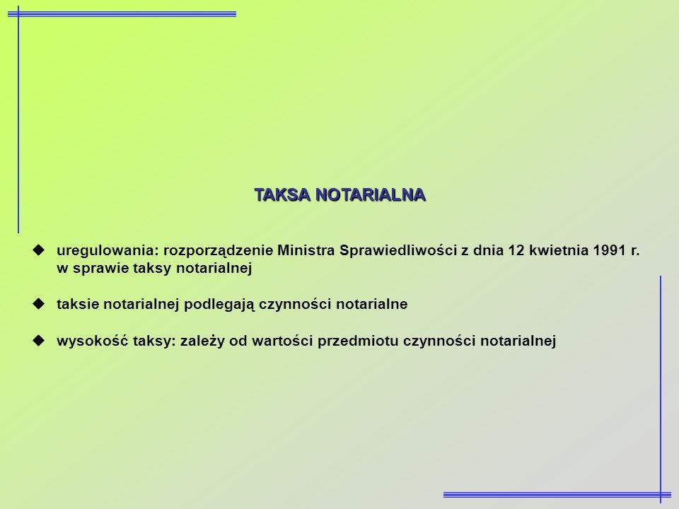 TAKSA NOTARIALNA uregulowania: rozporządzenie Ministra Sprawiedliwości z dnia 12 kwietnia 1991 r. w sprawie taksy notarialnej taksie notarialnej podle
