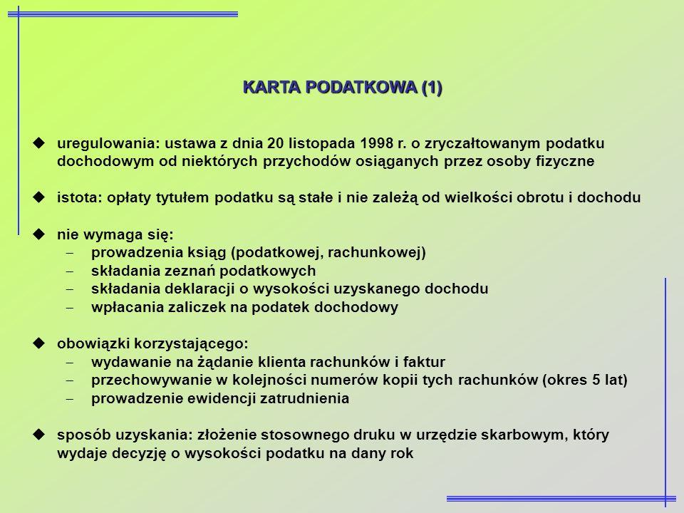 KARTA PODATKOWA (1) uregulowania: ustawa z dnia 20 listopada 1998 r. o zryczałtowanym podatku dochodowym od niektórych przychodów osiąganych przez oso