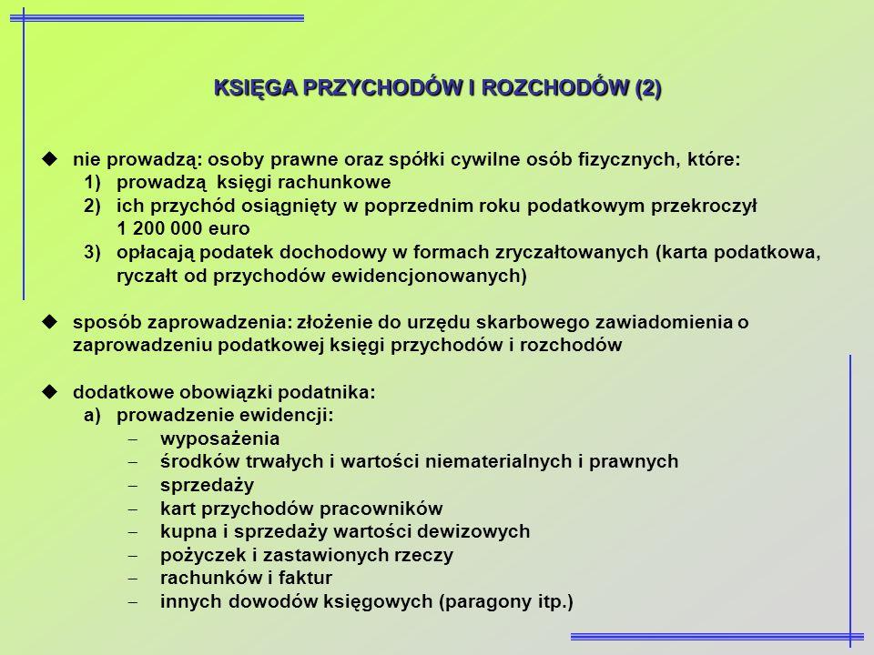KSIĘGA PRZYCHODÓW I ROZCHODÓW (2) nie prowadzą: osoby prawne oraz spółki cywilne osób fizycznych, które: 1)prowadzą księgi rachunkowe 2)ich przychód o