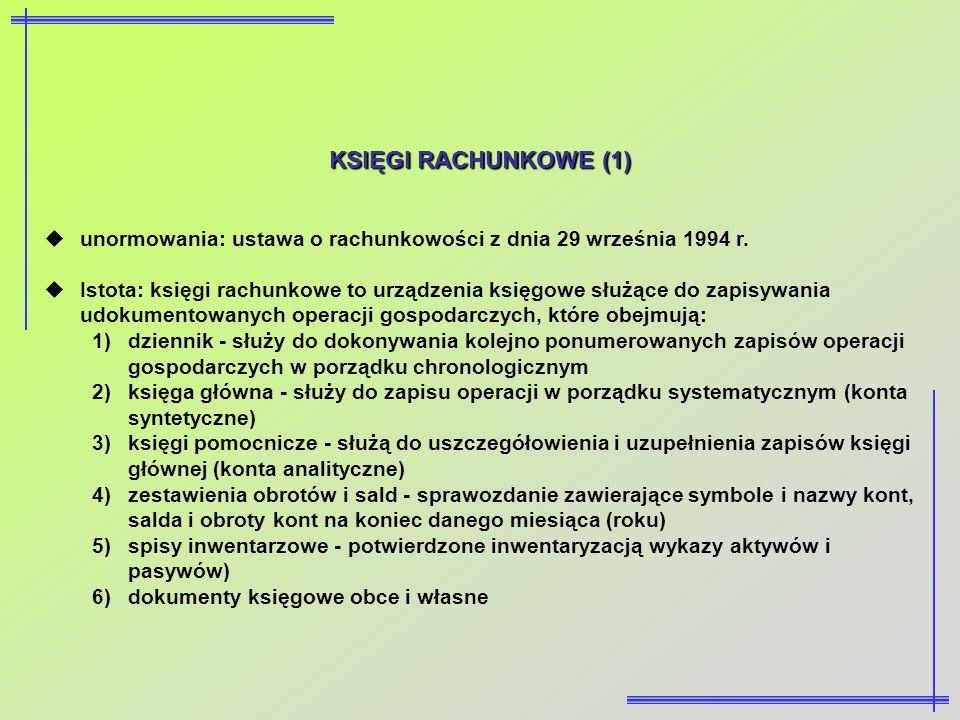 KSIĘGI RACHUNKOWE (1) unormowania: ustawa o rachunkowości z dnia 29 września 1994 r. Istota: księgi rachunkowe to urządzenia księgowe służące do zapis