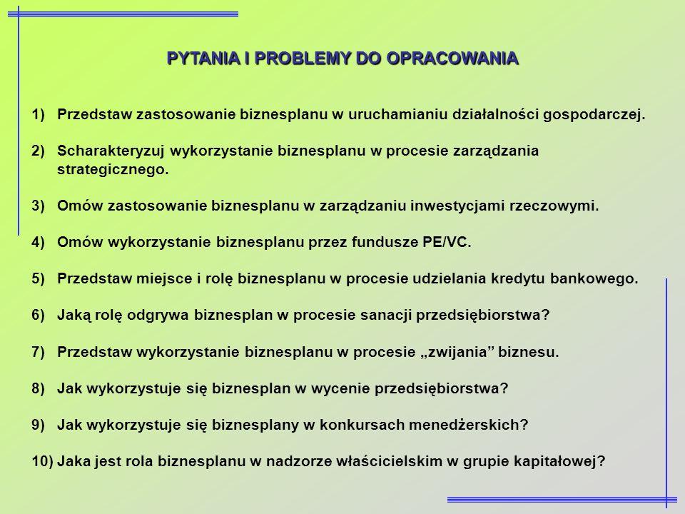 PYTANIA I PROBLEMY DO OPRACOWANIA 1)Przedstaw zastosowanie biznesplanu w uruchamianiu działalności gospodarczej. 2)Scharakteryzuj wykorzystanie biznes