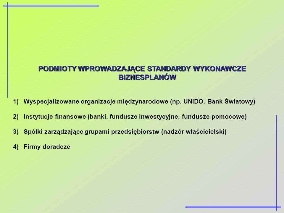 PODMIOTY WPROWADZAJĄCE STANDARDY WYKONAWCZE BIZNESPLANÓW 1)Wyspecjalizowane organizacje międzynarodowe (np. UNIDO, Bank Światowy) 2)Instytucje finanso