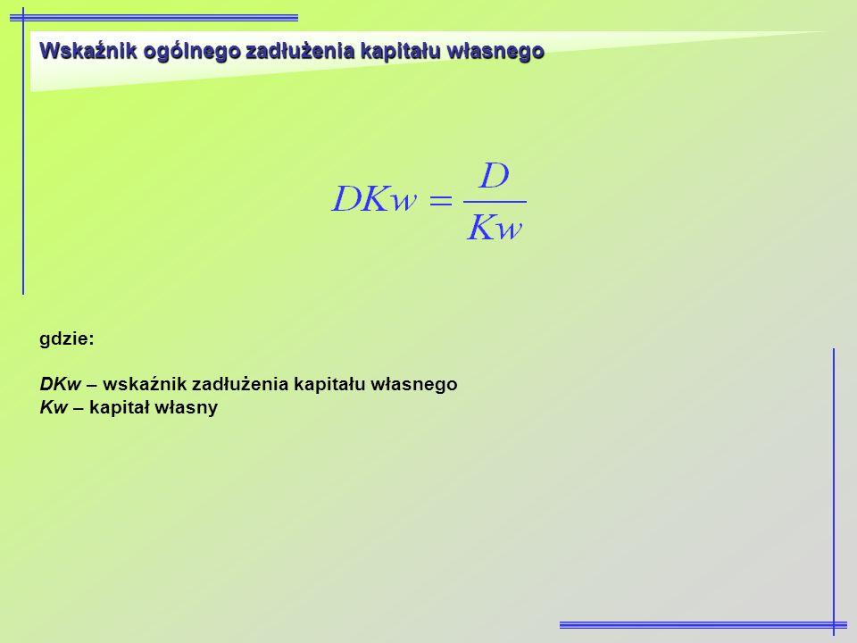 Wskaźnik ogólnego zadłużenia kapitału własnego gdzie: DKw – wskaźnik zadłużenia kapitału własnego Kw – kapitał własny