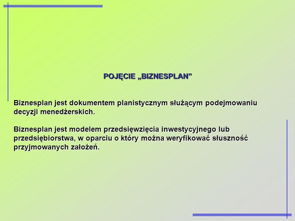 POJĘCIE BIZNESPLAN Biznesplan jest dokumentem planistycznym służącym podejmowaniu decyzji menedżerskich. Biznesplan jest modelem przedsięwzięcia inwes