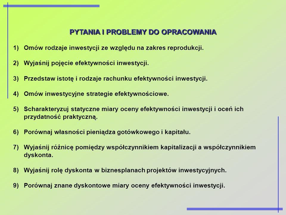 PYTANIA I PROBLEMY DO OPRACOWANIA 1)Omów rodzaje inwestycji ze względu na zakres reprodukcji. 2)Wyjaśnij pojęcie efektywności inwestycji. 3)Przedstaw