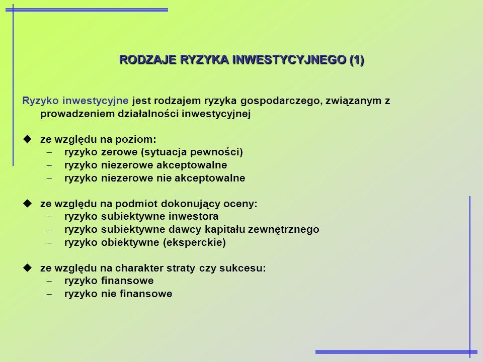 RODZAJE RYZYKA INWESTYCYJNEGO (1) Ryzyko inwestycyjne jest rodzajem ryzyka gospodarczego, związanym z prowadzeniem działalności inwestycyjnej ze wzglę