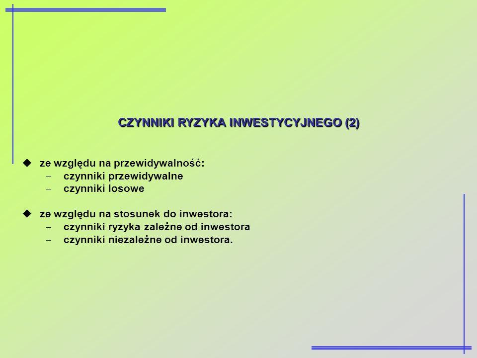 CZYNNIKI RYZYKA INWESTYCYJNEGO (2) ze względu na przewidywalność: czynniki przewidywalne czynniki losowe ze względu na stosunek do inwestora: czynniki