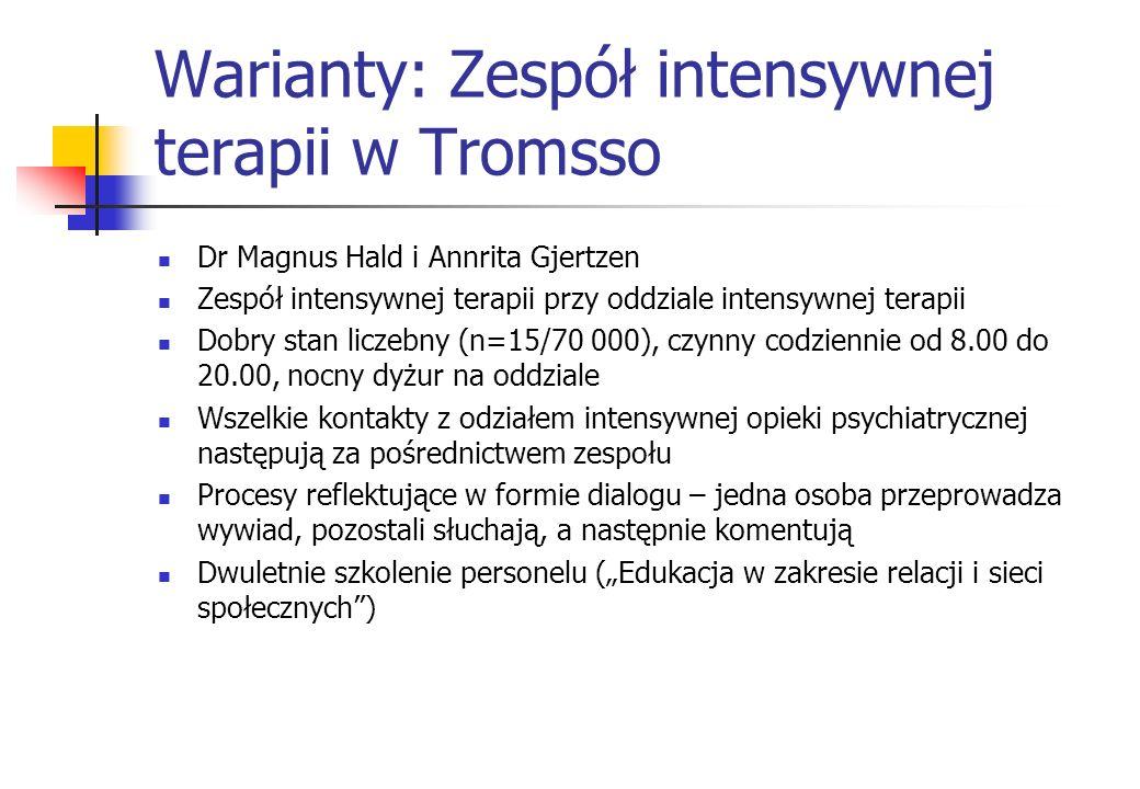 Warianty: Zespół intensywnej terapii w Tromsso Dr Magnus Hald i Annrita Gjertzen Zespół intensywnej terapii przy oddziale intensywnej terapii Dobry st