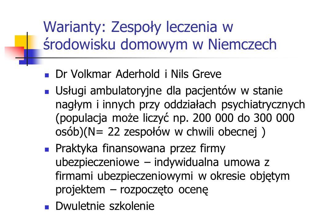 Warianty: Zespoły leczenia w środowisku domowym w Niemczech Dr Volkmar Aderhold i Nils Greve Usługi ambulatoryjne dla pacjentów w stanie nagłym i inny