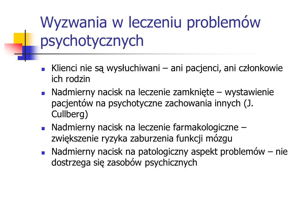 Wyzwania w leczeniu problemów psychotycznych Klienci nie są wysłuchiwani – ani pacjenci, ani członkowie ich rodzin Nadmierny nacisk na leczenie zamkni