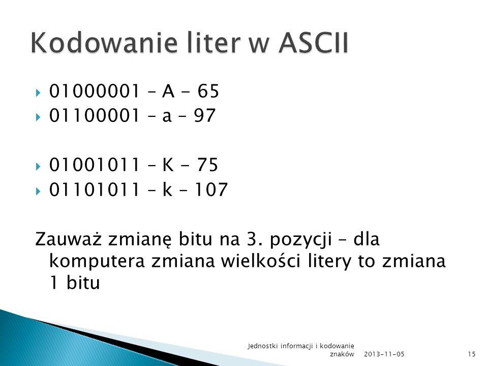 01000001 – A - 65 01100001 – a – 97 01001011 – K - 75 01101011 – k – 107 Zauważ zmianę bitu na 3. pozycji – dla komputera zmiana wielkości litery to z
