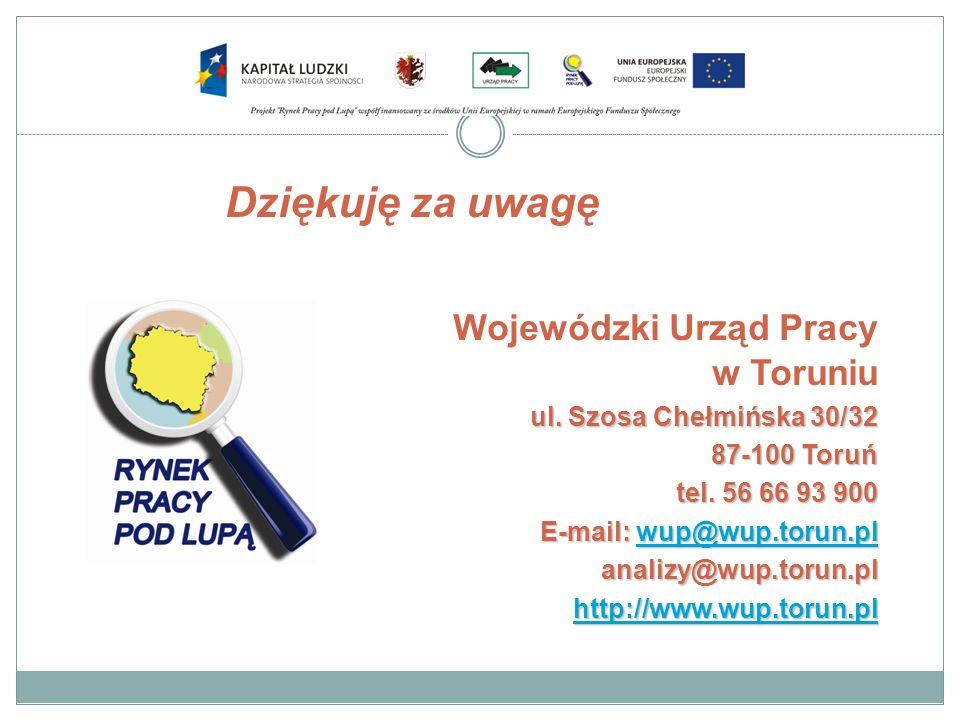 Dziękuję za uwagę Wojewódzki Urząd Pracy w Toruniu ul. Szosa Chełmińska 30/32 87-100 Toruń tel. 56 66 93 900 E-mail: wup@wup.torun.pl wup@wup.torun.pl