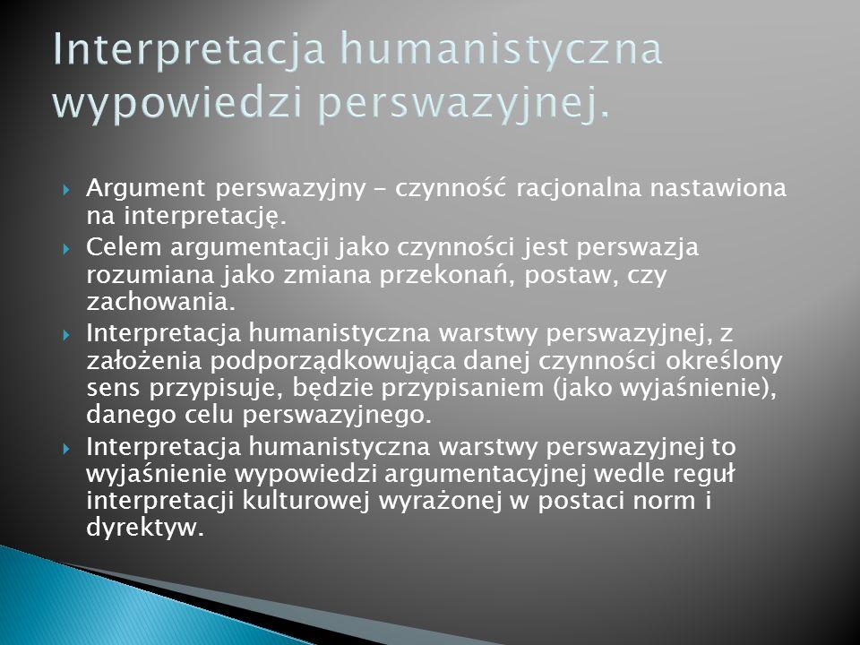 Interpretacja humanistyczna wypowiedzi perswazyjnej. Argument perswazyjny - czynność racjonalna nastawiona na interpretację. Celem argumentacji jako c