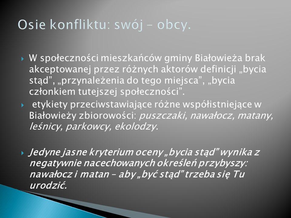 Osie konfliktu: swój – obcy. W społeczności mieszkańców gminy Białowieża brak akceptowanej przez różnych aktorów definicji bycia stąd, przynależenia d