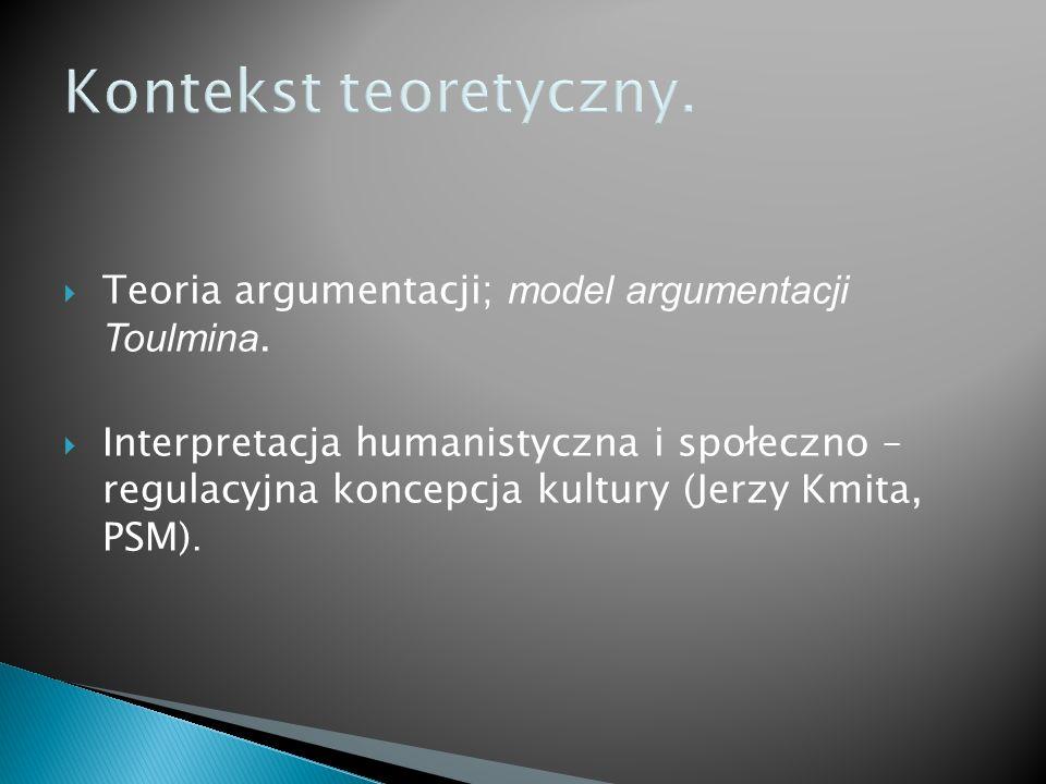 Kontekst teoretyczny. Teoria argumentacji; model argumentacji Toulmina. Interpretacja humanistyczna i społeczno – regulacyjna koncepcja kultury (Jerzy