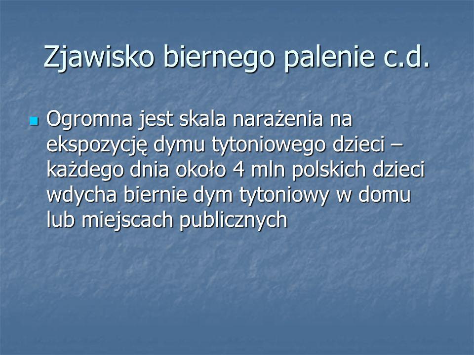 Zjawisko biernego palenie c.d. Ogromna jest skala narażenia na ekspozycję dymu tytoniowego dzieci – każdego dnia około 4 mln polskich dzieci wdycha bi
