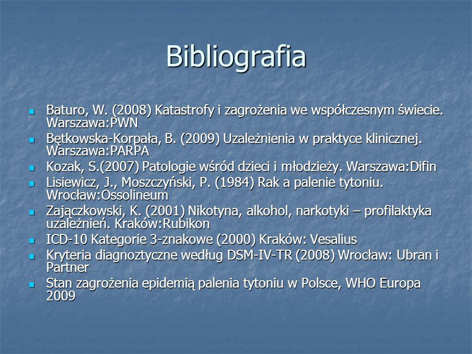 Bibliografia Baturo, W. (2008) Katastrofy i zagrożenia we współczesnym świecie. Warszawa:PWN Baturo, W. (2008) Katastrofy i zagrożenia we współczesnym